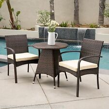 (3-Piece) Outdoor Patio Multibrown All-Weather Wicker Round Bistro Set