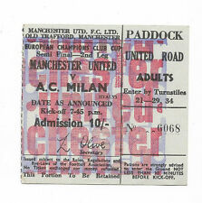 Ticket 1969 European Cup Semi Final - MANCHESTER UNITED v. AC MILAN