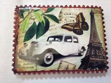 Souvenir Fridge Magnet Old Cars - White Car and Eiffel Tower - Brand New