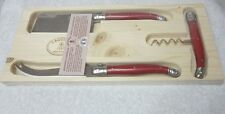 Laguiole Jean Dubost 3 Piece Set of Cheese Knifes Wine Corkscrew MADE IN FRANCE