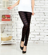 Black satin stripe leggings -  8 - 12 UK, gothic, dark stripes. stripey