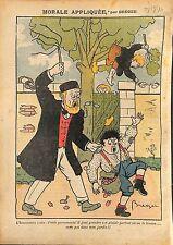 Caricature Instituteur Athée Laique Enfants Ecoliers Fruits  1910 ILLUSTRATION