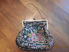 Antique 1930's Petit Point Floral Needlepoint Handwork  Bag