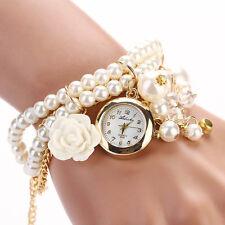 Señoras hermosas Nuevo Imitación Oro Y Perla Bling Reloj Pulsera