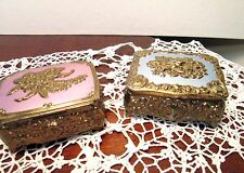 Vintage Embossed Gold Metal Footed Ring Box (2) Trinket Jewelry Case Red Velvet