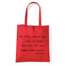 Art T-shirt, Borsa  George Best, Rossa, Shopper, Mare