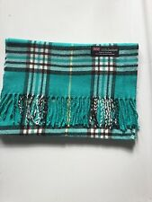 100% Cashmere Made In Scotland Winter Warm Scarf Scarve Turquoise White Plaid