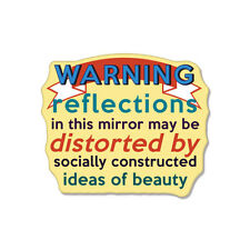 Warning Reflections In This Mirror May Be Distorted car bumper sticker decal 5""