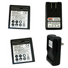 2 2200mAh Li-Ion Battery+Pod Charger For Samsung Galaxy S2 II SkyRocket SGH-i727