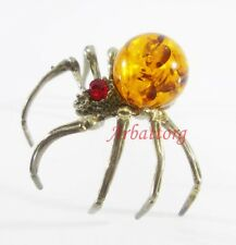 Bronze Brass Figurine Statuette Russian Spider Baltic Amber # 31