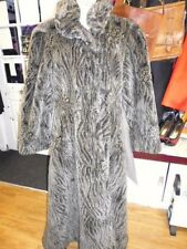 VINTAGE 70'S GREY FULL LENGTH VICTORIAN STEAMPUNK STYLE FAUX FUR COAT SIZE 12 14