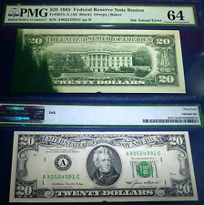 PMG 64 UNCIRCULATED  , ERROR BANKNOTE. INK-SMEAR 1985  $20