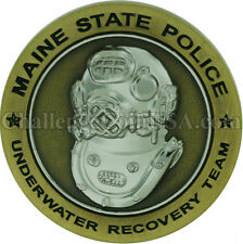 Maine State Police Diver Challenge Coin with stand