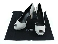 "Hugo Boss Gray ""Sylvie"" Heels sz 38/8 $395 Made in Italy 100% Authentic"