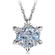 Blue Crystal Snowflake Frozen Flower Silver Necklace Pendant 45cm 18 inches