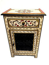 Moroccan Handpainted Nightstand Wood & Iron Table Arabic Design Furniture Beige