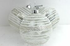 GISELA GRAHAM CHRISTMAS CLEAR GLASS BAUBLE SILVER GLITTER BANDS DECORATION X 3