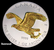 2014 1 oz Silver Canadian Bald Eagle Birds of Prey Canada 24K Gold Gilded BU
