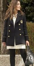 ZARA Navy Blue Double Breasted Wool Military Jacket Coat Gold Buttons NEW SIZE L