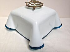 Original French Art Deco Glass Pendant Shade White Opaline Glass with Blue Edge
