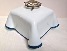 Original French Art Deco Glass Pendant Shade White Opaline Glass with Blue Edge