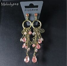 PILGRIM Earrings PRECIOUS MOMENTS Pink Coral Quartz Swarovski Vintage Gold BNWT
