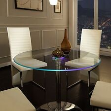 Lighted Dining Table Led Light Furniture Modern Round Glass Kitchen Living Room