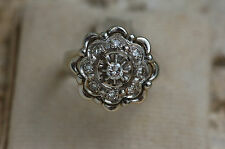 AUTHENTIQUE  BAGUE ANCIENNE  OR  BLANC 18k    /  / DIAMANTS