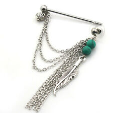 Feather  Stainless Steel Industrial Bar Scaffold And Earring Piercing