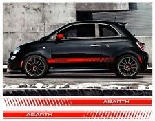 Pair Fiat 500 Abarth side stripes vinyl decal detail Sidestripes set not sticker