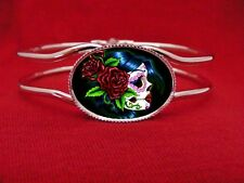SUGAR SKULL GIRL DAY OF THE DEAD BANGLE BRACELET