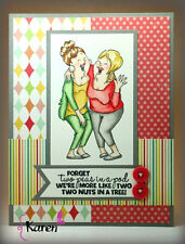 2 Peas n Pod 2 nuts n a tree (words) L@@K @example ART IMPRESSIONS RUBBER STAMPS