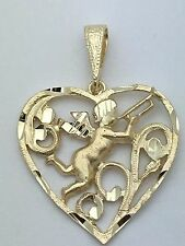 14K Solid Yellow Gold Heart with Angel Cherub Playing Horn Charm Pendant 3.1gram