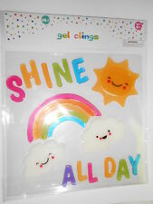 NEW CUTE Gel Window Cling Decorations Summer Fun Sun Shine All Day Rainbow 20 pc