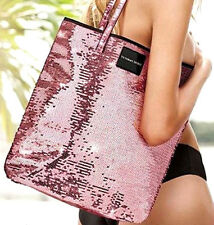 PINK SEQUIN Glam Sparkle Tote Bag Victoria's Secret Shopping Beach Carry All 15""