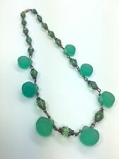 Vintage Green Sea Glass Sea Shell Scallop Bead Necklace Crystal Filigree