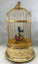 Reuge Music Sainte Croix Red Blue Birds Singing In Cage Wind Up Collectible Gift