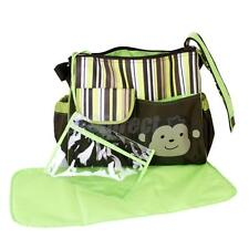 3 in 1 Baby Diaper Nappy Changing Shoulder Bag Mummy Handbag Green Stripes