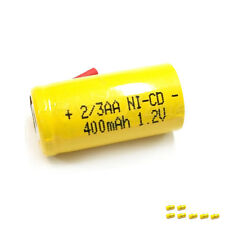 8 x 2/3AA 2/3 AA 400mAh 1.2V NiCd Ni-Cd Rechargeable Battery with Tabs Yellow