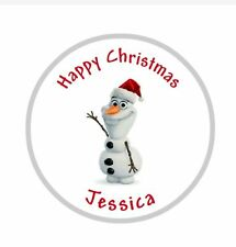 24 x 40mm Personalised Round Christmas disney frozen olaf Labels Stickers