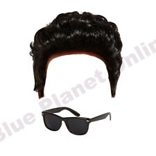 MENS GREASER DANNY WIG & BLACK SUNGLASSES FANCY DRESS COSTUME