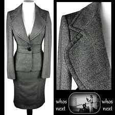 36 Next 14 16 grey wool tweed pencil skirt suit 40s 50s womans ladies eu 42 44