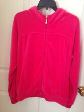 EUC JUICY COUTURE VELVET HOODED HOODIE TRACK JACKET BRIGHT PINK XL
