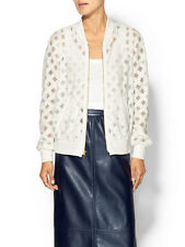 Milly S White Mesh Window Pane Sheer Bomber Jacket 4 6 S