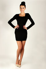 Trendy Women's Tunic with Pocket Square Neck Bodycon Size 8 -12 8519