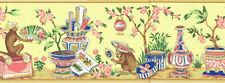 Styling Oriental Monkeys, Pots with Trees, Flowers Wallpaper Border  EC1123B