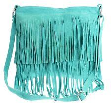 Large Genuine Suede Shoulder Bag Tassel Crossbody Womens Designer Slouch Fringe
