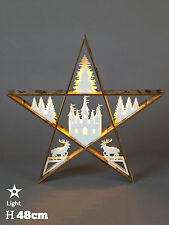 Wooden Christmas Star DDecoration Light Up LED Woodland Table Top 48cm Natural