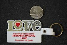 Love Nebraska Masonic Home Masons Plattsmouth White Keychain Key Ring #18182