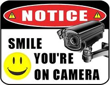 "Flashing Red LED Security Sign ""Smile You're on Camera"" 9x11.5 Laminated New"